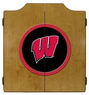 Wisconsin Badgers Dartboard Cabinet in Oak Finish