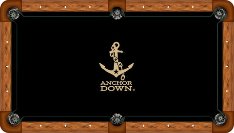 Vanderbilt Wool Pool Table Felt - Anchor on Black