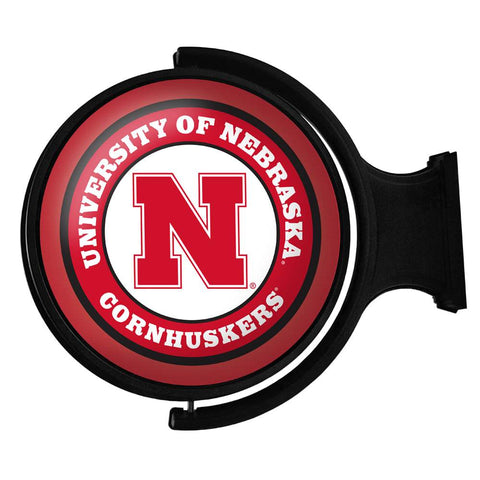 Nebraska Cornhuskers Rotating LED Team Spirit Round Wall Sign-Primary Logo