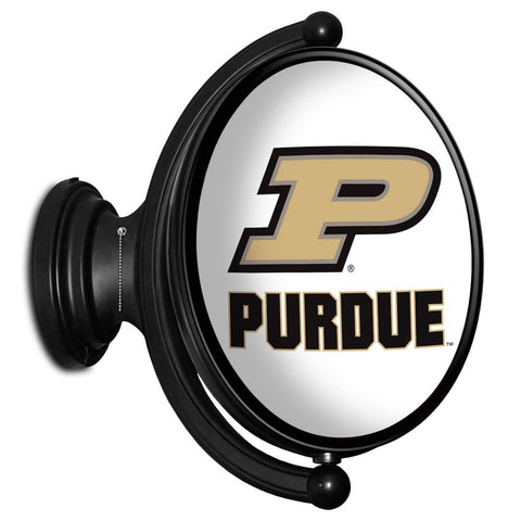 Purdue Boilermakers Rotating LED Team Spirit Oval Wall Sign-Primary Logo on White