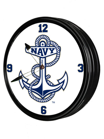 "Navy Midshipmen 19""LED Team Spirit Clock-Anchor"