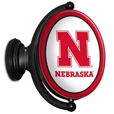 Nebraska Cornhuskers Rotating LED Team Spirit Oval Wall Sign-Primary Logo