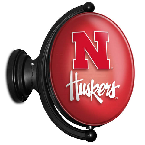 Nebraska Cornhuskers Rotating LED Team Spirit Oval Wall Sign-Huskers