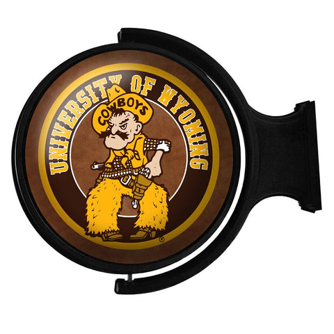 Wyoming Cowboys Rotating LED Team Spirit Round Wall Sign-Pistol Pete