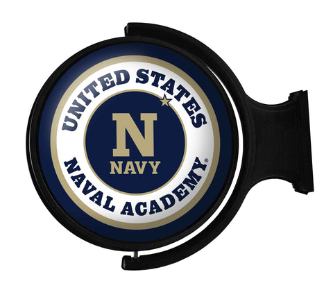 Navy Midshipmen Rotating LED Team Spirit Round Wall Sign-Primary Logo