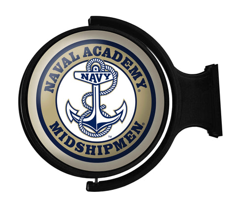 Navy Midshipmen Rotating LED Team Spirit Round Wall Sign-Anchor