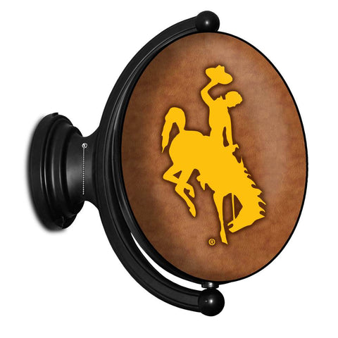 Wyoming Cowboys Rotating LED Team Spirit Oval Wall Sign- Oval-Bucking Horse-Leather