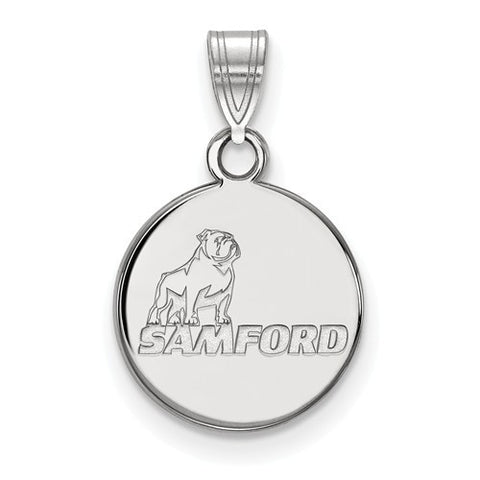 Samford Bulldogs Small Pendant 10k White Gold