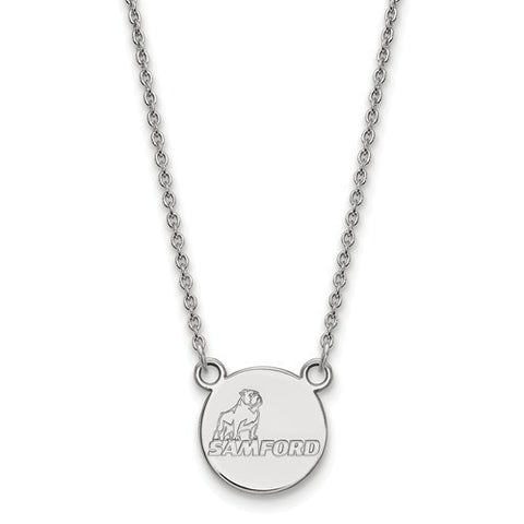 Samford Bulldogs Small Pendant Necklace 10k White Gold