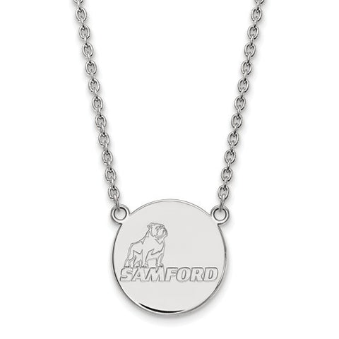 Samford Bulldogs Large Pendant Necklace 10k White Gold
