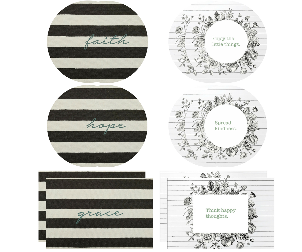 Vintage Inspiration Mixed Collection |  2 Rectangle + 4 Round Placemats + 12 Dailie Inserts