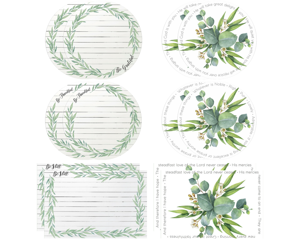 Seeds for Thought Mixed Collection | 2 Rectangle + 4 Round Placemats + 12 Dailie® Inserts