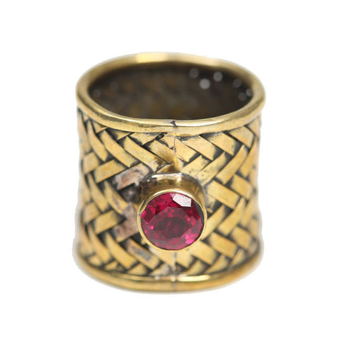 WIDE BRAIDED RING, FUSCHIA