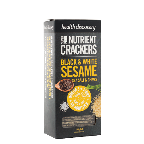 Nutrient Crackers Black & White Sesame, Sea Salt & Chives, Gluten Free, Dairy Free