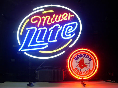 Boston Red Sox Miller Lite Beer Neon Sign