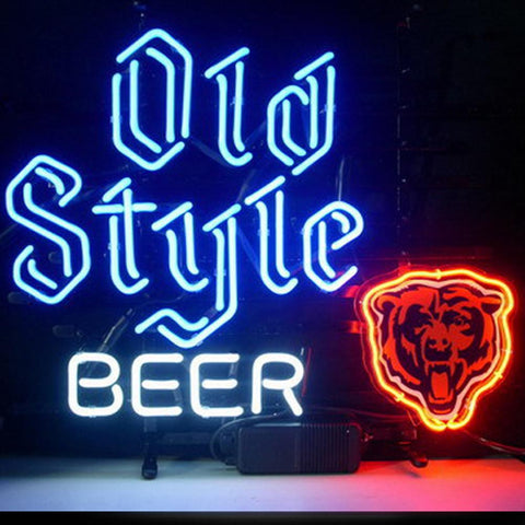 Professional  Chicago Bears Old Style Beer Neon Bar Pub Lager Sign