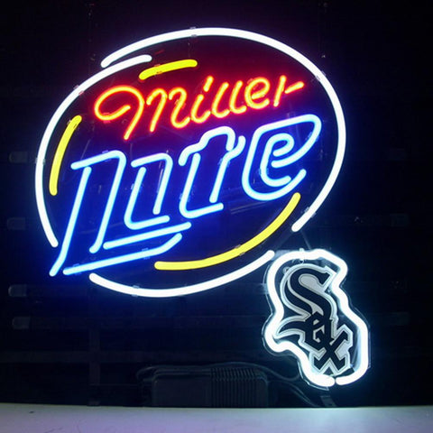 Professional  Chicago White Sox Miller Lite Real Neon Beer Bar Pub Sign
