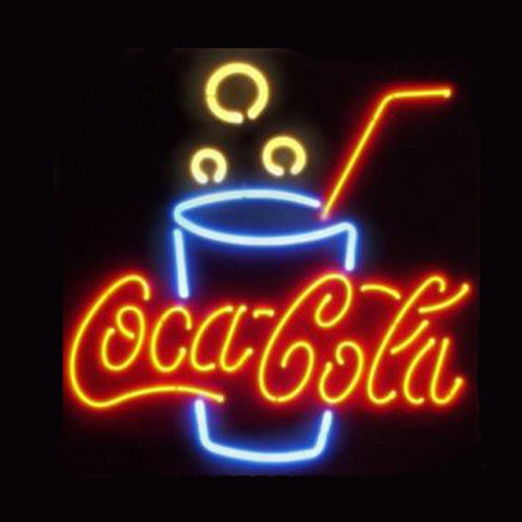 Professional  Coca Cola Glass Beer Bar Open Neon Signs