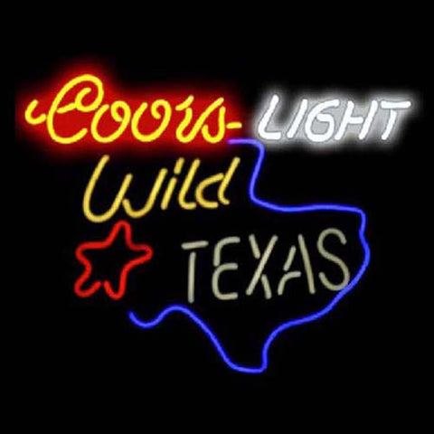 Professional  Coors Wild In Texas Beer Bar Open Neon Signs