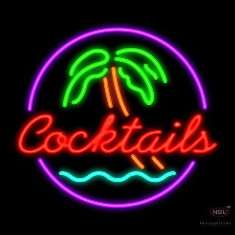 Cocktail Palm Tree Neon Sign