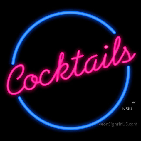 Cocktails Circle Neon Sign