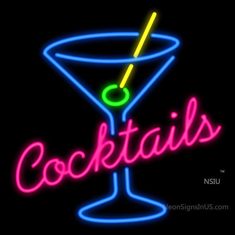 Cocktails Martini Glass Neon Sign