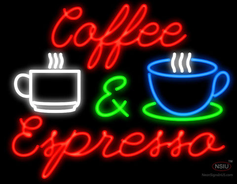 Coffee and Espresso Script Neon Sign