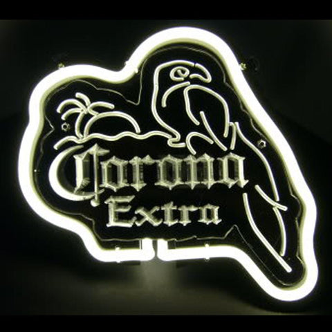 Corona Extra Parrot White On Black Neon Bar Mancave Sign