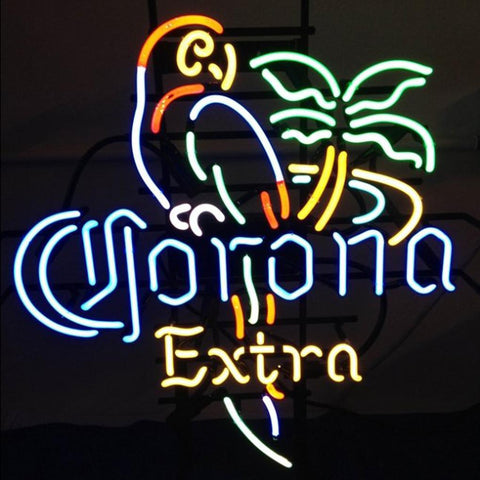 Corona Extra Neon Beer Sign Parrot Palm Tree Lighted