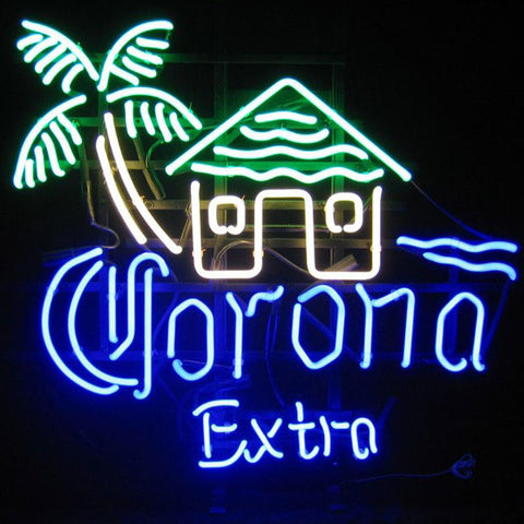 Corona Extra With House Palm Tree Neon Bar Sign