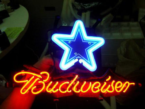 Dallas Cowboys Football Budweiser Neon Light Sign