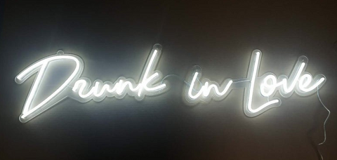 White color Drunk in love Led Handmade Art Neon Sign