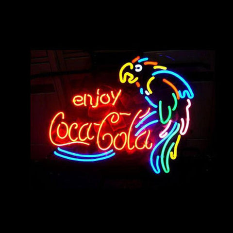 Professional  Enjoy Coca Cola Parrot Beer Bar Open Neon Signs