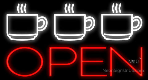 Espresso Cups Open Neon Sign