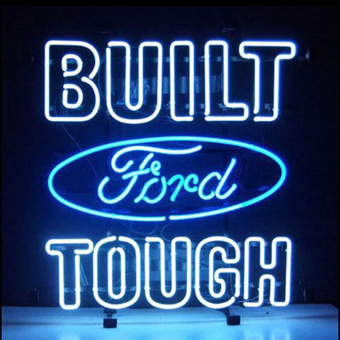 Professional  Ford Built Tough Shop Open Neon Sign