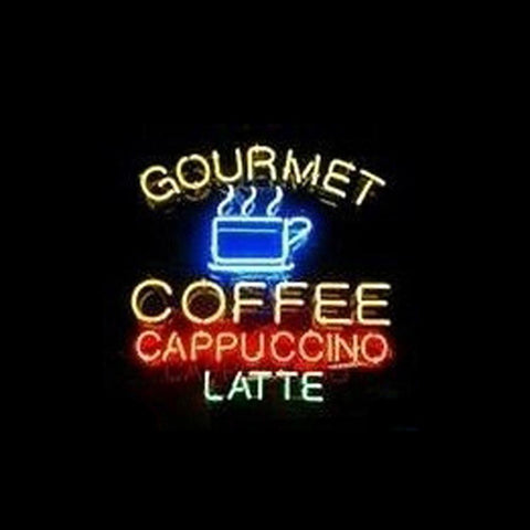 Professional  Gourmet Coffee Cappuccino Latte Shop Open Neon Sign