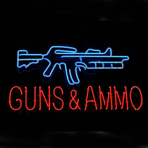 Professional  Guns And Ammo Neon Sign