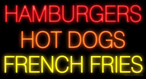 Hamburgers Hot Dogs French Fries Neon Sign