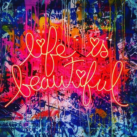 Life is beautiful Handmade Art Neon Signs