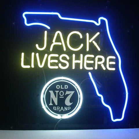 Professional  Jack Daniels Jack Lives Florida Whiskey Beer Bar Open Neon Signs