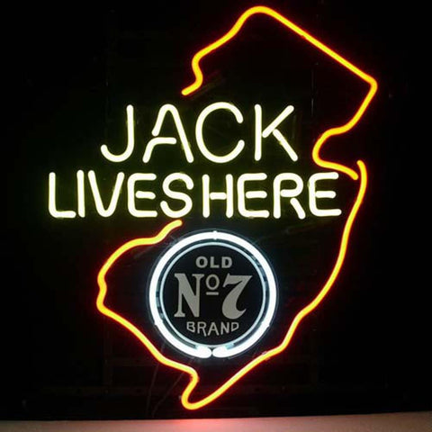 Professional  Jack Daniels Lives Here New Jersey Whiskey Neon Beer Bar Sign