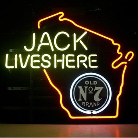 Professional  Jack Daniels Lives Here Whiskey Wisconsin Neon Beer Sign
