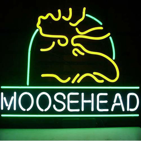Professional  Moosehead Lager Maine Moose Beer Bar Open Neon Signs