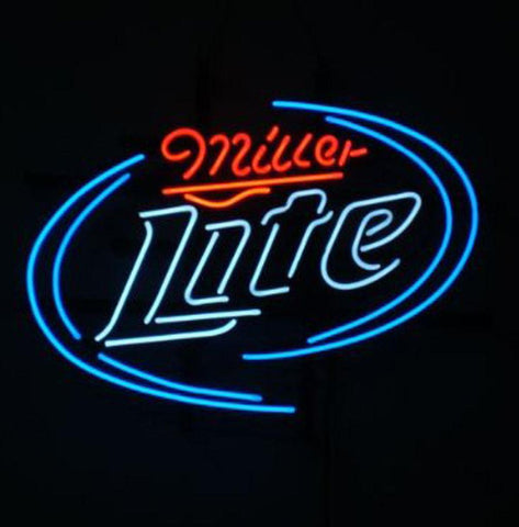 Miller Lite Logo V2 Pub Store Beer Bar Handcrafted Real Glass Tube Neon Light Sign