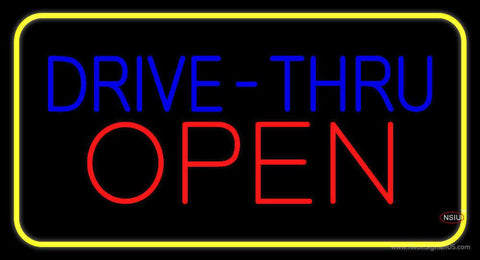 Blue Drive-Thru Red Open Yellow Border Real Neon Glass Tube Neon Sign