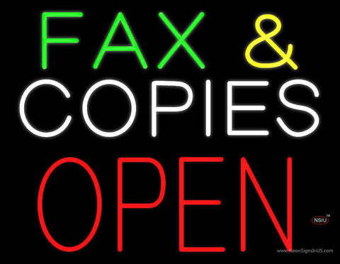 Green Fax and White Copies Block Open Real Neon Glass Tube Neon Sign