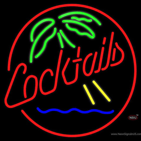 Cocktails and Palm Tree Real Neon Glass Tube Neon Sign
