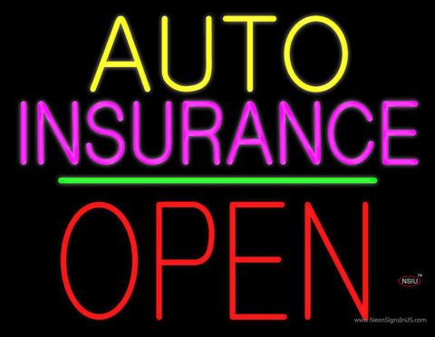 Auto Insurance Open Block Green Line Real Neon Glass Tube Neon Sign