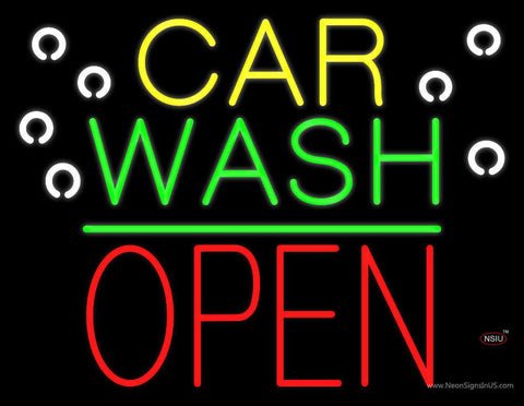 Car Wash Open Block Green Line Real Neon Glass Tube Neon Sign