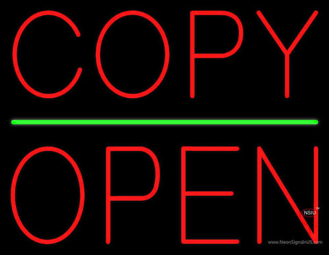 Copy Block Open Green Line Real Neon Glass Tube Neon Sign